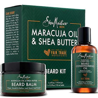 Shea Moisture Beard Oil & Balm Grooming Kit For Men, Organic All Natural Maracuj