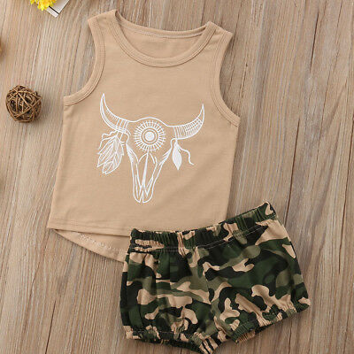 2PCS Toddler Kids Baby Boy Girls Tops Vest Camo Pants Shorts Summer Outfits Set
