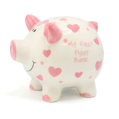Large 'My First Piggy Bank' Pink Hearts Money Bank #LP28838