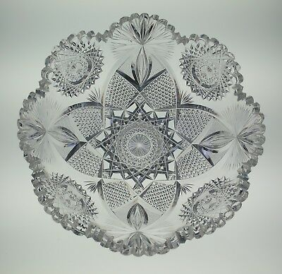 """HOARE 9"""" ABP Deeply Cut Bowl Antique American Brilliant Period Glass"""