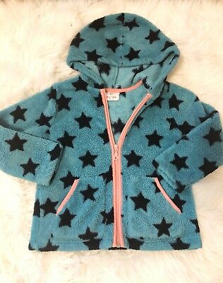 Girls Hanna Andersson Fleece Stars Zip Up Jacket Teal Pink 110