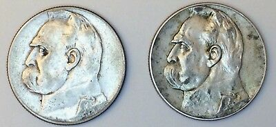 Poland 5 Zlotych, 1934 and 1936 ~ Two Silver Coins