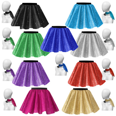GIRLS DANCE Skirt and Scarf COSTUME SEQUIN JAZZ TAP Show Festival Costume UK