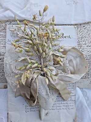 RARE LOVELY ANTIQUE FRENCH WEDDING BOUQUET WAX BUD & FLOWERS 19th