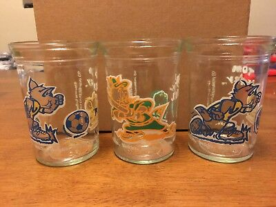 3 Vintage Tom And Jerry Jelly Jars 2 Soccar And 1 Baseball 1991