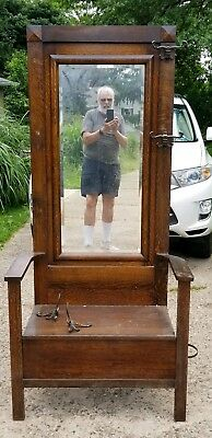 Full size Antique Wall Tree with mirror, boot compartment, and umbrella holder