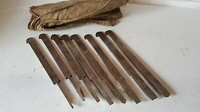 Set Of 8 Vintage Plough Plane Irons By A. Hildick Sheffield