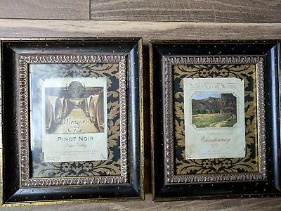"2 Heavy Wooden Photo/Picture Frames, Gold Trimed  11 1/2"" by 13 1/2"