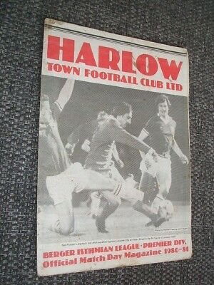 HARLOW TOWN v CHARLTON ATHLETIC. 1980-81 FA CUP 1ST RND