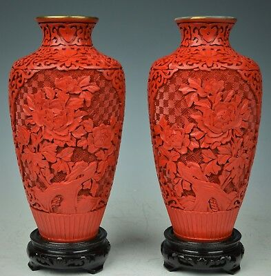 Beautiful Vintage Chinese Pair Of Cinnabar Hand Carved Vases 20Th Century