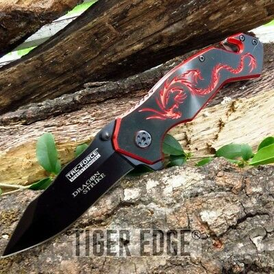 """100% Authentic 3.5"""" Closed Dragon Strike Red Small Outdoor Rescue Pocket Knife"""