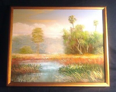 ROBERT BUTLER Highwayman PAINTING Florida Woods & Water Signed '85 Bill of Sale