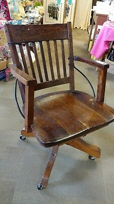 Antique Vintage Desk Chair Swivel Office Library Bankers Milwaukee Chair Co