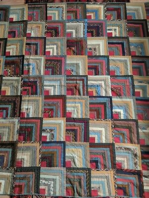 Antique American Patchwork Quilt Bars Log Cabin Type as Is