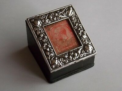 Antique Edwardian Birmingham C1905 Silver & Leather Stamp Box + Penny Red Stamp