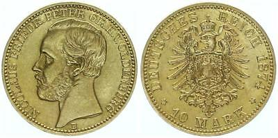 Oldenburg 10 Mark 1874 Gold Nicolaus Friedrich Peter 1853-1900. Jäger 241
