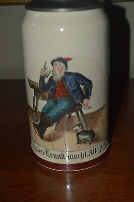 """German stein, turn of the century, 1899, """"old man and his dog"""". Beautiful lid"""