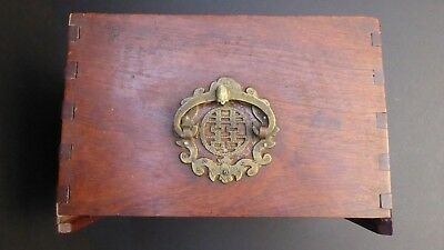 Antique Chinese Mahjong Wooden Box Only (Damaged) for Spare/Repair