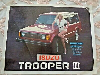 "Vtg. 1980's "" Isuzu Trooper Ii "" Poster  W/ Linda Kenton Penthouse Pet Of Year ."