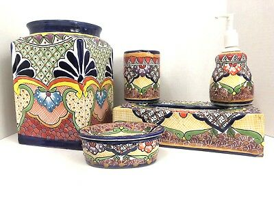 Mexican_Pottery_Ceramic_Bathroom_Set_Soap_Tissue_Trash_Can_Toothbrush_Colorful