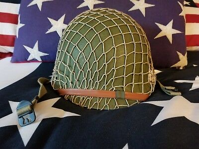 WWII US McCord Front Seam M1 Helmet Westinghouse Liner Net USMC Army Name Swivel