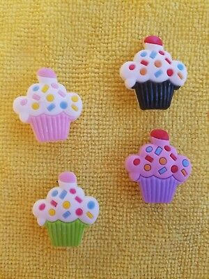 DELICIOUS CUPCAKES shoe charms/cake toppers!! Set of 4!! FAST USA SHIPPING!!