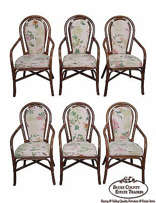 Quality Set of 6 Rattan Bamboo Dining Arm Chairs