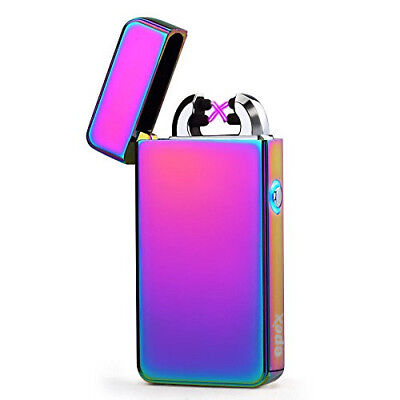 USB Electric Dual Arc Rainbow Flameless Torch Rechargeable Windproof Lighter