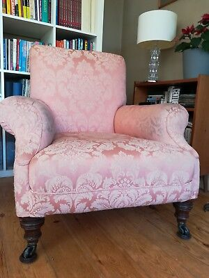Antique Victorian armchair, with castors, pale pink, buyer collect only