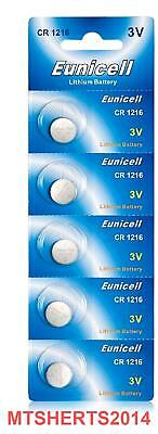 5 x Eunicell 3V  CR1216 Lithium Button Coin Cell Battery Batteries DL1216  RX3