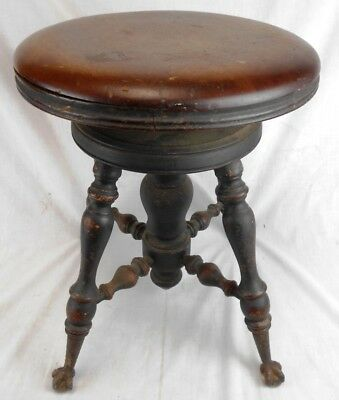 Vintage Adjustable Claw Foot Piano Stool