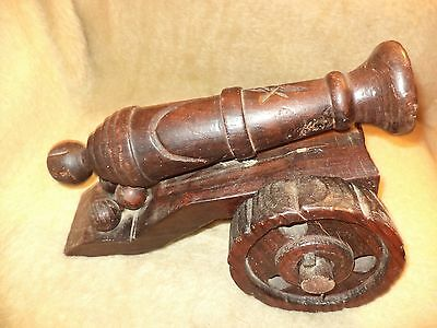 Hand Made Old Antique Cannon Wooden Model