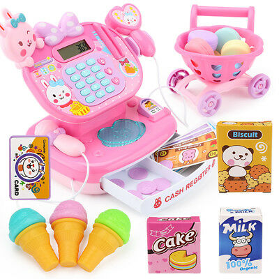 Kids Electronic Cash Register Toys Supermarket Pretend Play w/ Shopping Cart