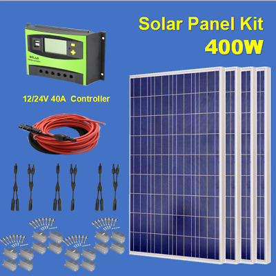 COMPLETE KIT: 400 Watt 400W Poly Solar Panel 12V 24V Battery