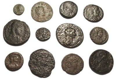 Lot of 12 Æ2-4 Ancient Roman Bronze Coins