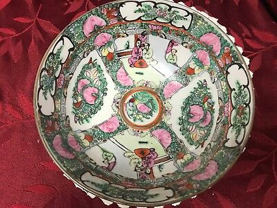 Vintage Heygill Imports Famille Rose Bowl Greens and pinks Gold Trim