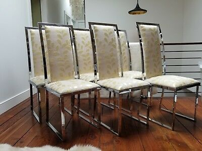 Hollywood Regency Chrome  Dining Chairs - Set of 6
