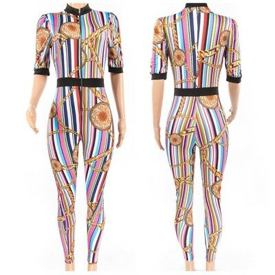 Favorite Girl Style Wholesale Women Multi Stripe Print Zipper Jumpsuit 3 Pcs