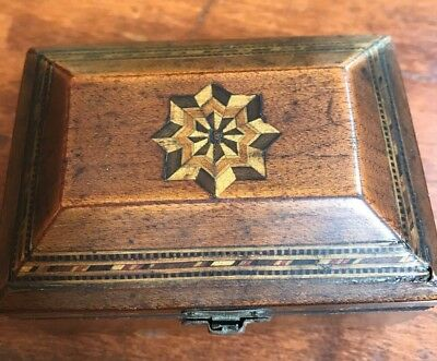 Tea Caddy Or Tobacco  Box  Inlay  Lined Interior