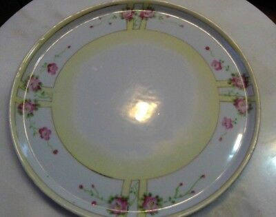 Cabinet Plate Vintage Japan Cherry Blossoms Ivory & White Hand Painted Porcelain