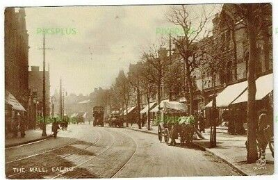 Old Street Scene Postcard The Mall Ealing London Note Bus Real Photo Used 1911