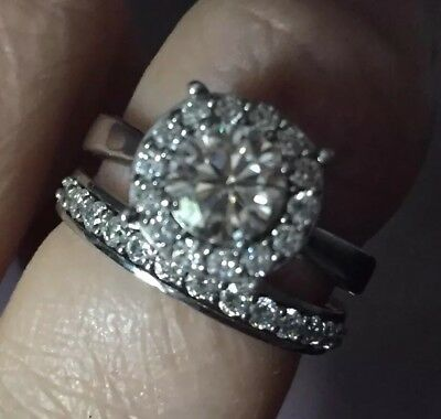 Wow!!  Real Moissanite Fire Round Halo Bridal Set ** 2.25 Carats & Certificate**