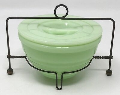 Vintage Jeannette Jadeite Jadite Ribbed Drippings Grease Jar Lid Stand SCP