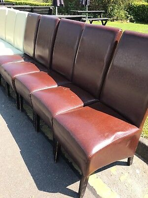 Job Lot of Chocolate and Cream Faux Leather Restaurant Chairs in used condition