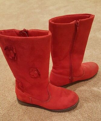 Gymboree Girls Red High Boots, Size Youth 3, In Perfect Condition