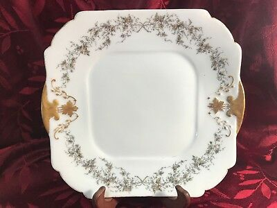 Antique CFH GDM 1880s Plate Grey leaves and Gold Trim