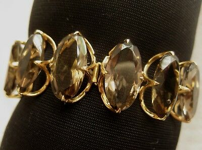 "14K Gold-Filled SMOKY TOPAZ BRACELET 6.75"" Long w/ Safety Chain"