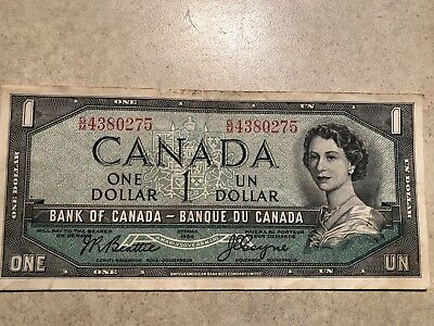Canadian 1954 series one dollar bill, hard to find, circulated decent, nice