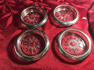 Vintage Set of 4 B-1 Sterling Silver and Glass Coasters