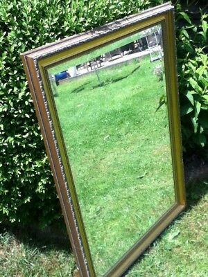 Antique looking mirror Large gold colour slight damage to frame see photo